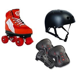 Rio Roller Pure Quad Roller Skates & Protection Bundle - Red/White