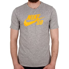 Nike SB Logo T-Shirt - Dark Grey Heather/Laser Orange