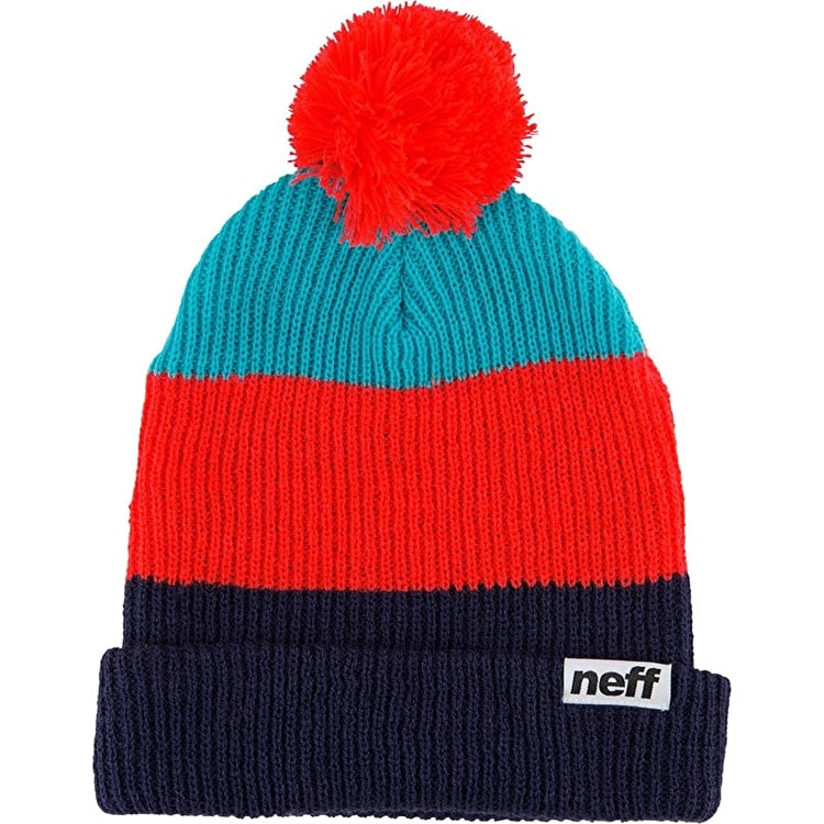 Neff Snappy Beanie - Navy/Red/Teal