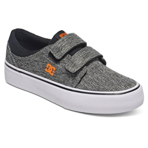 DC Trase V TX SE Kids Skate Shoes - Black/Grey