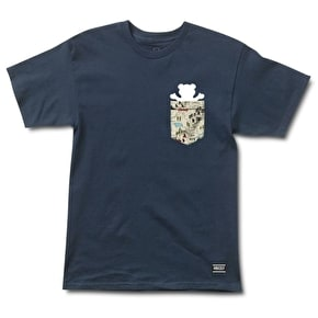 Grizzly Trial Map Pocket T-Shirt - Navy