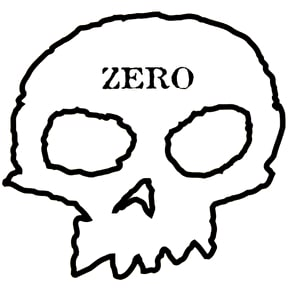 Zero Skateboard Sticker - Skull White