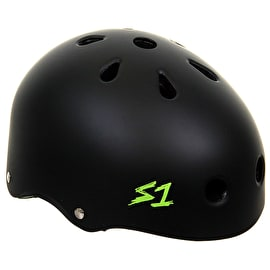 S1 Lifer Multi Impact Helmet- Matt Black/Green Straps