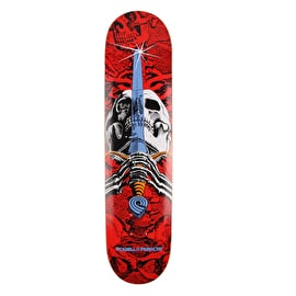 Powell Peralta One Off Skull & Sword Skateboard Deck - Red/White 7.5