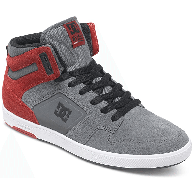 DC Nyjah High SE Shoes - Grey/Dark Red