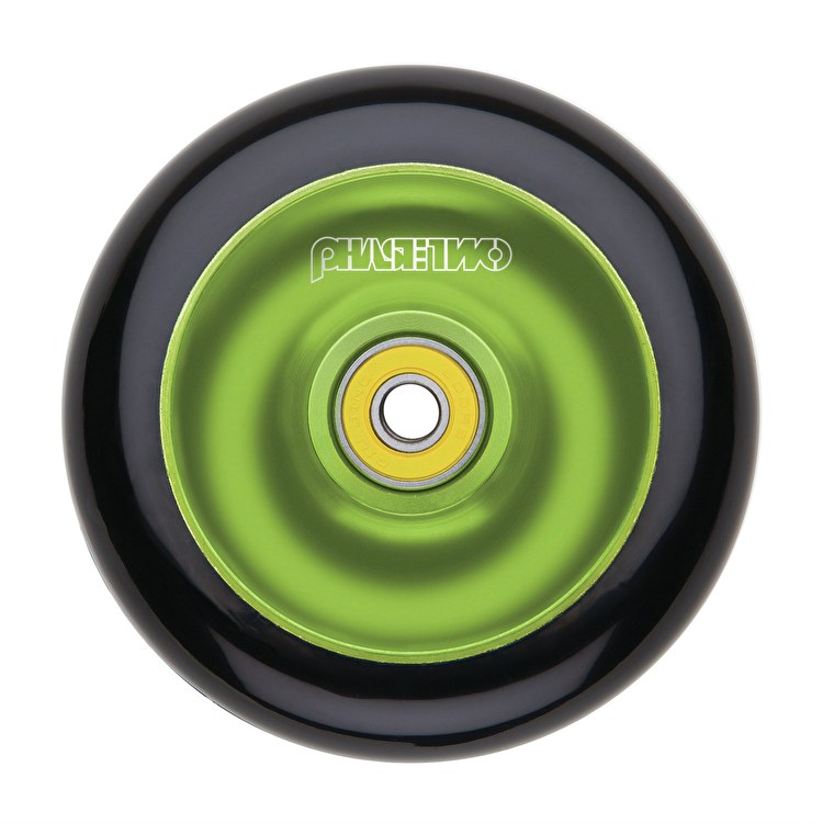 Phase Two 110mm Alloy Solid Scooter Wheel - Black/Green