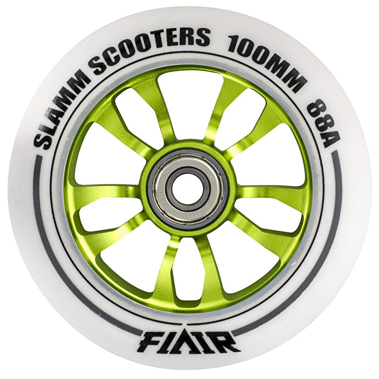 Slamm 100mm Flair Scooter Wheel - White/Green