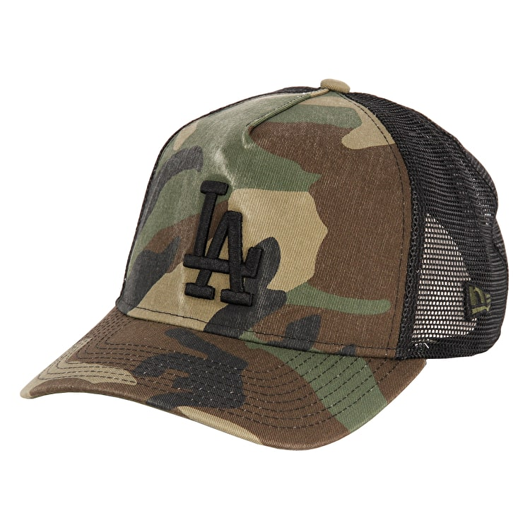 New Era Washed Camo Trucker LA Dodgers Cap - Woodland Camo