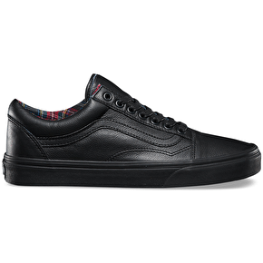 Vans Old Skool Shoes - (Leather) Black/Plaid