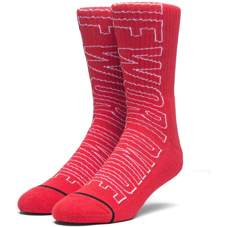 Huf Grand Prix Crew Socks - Scarlet