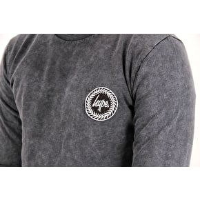 Hype Acid Wash Crest Crewneck - Grey