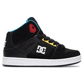 B-Stock DC Rebound Kids Skate Shoes - Black/Multi UK 1 (Box Damage)
