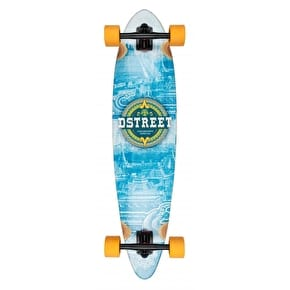 D-Street Mehico Mayan Bamboo Pintail Complete Longboard - Blue 36