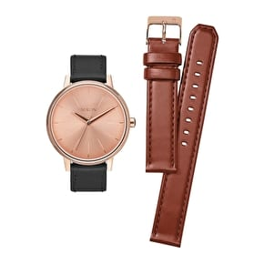 Nixon Kensington Leather Pack Womens Watch - Rose Gold/Saddle/Black