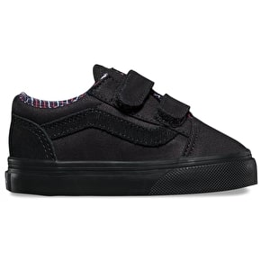 Vans Old Skool V Toddler Shoes - (Cord & Plaid) Black/Black