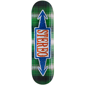 Stereo Stitched Arrows Skateboard Deck - Green 8.5