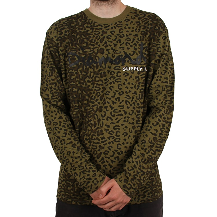 Diamond Supply Co Cheetah Canvas Long Sleeve T-Shirt - Olive