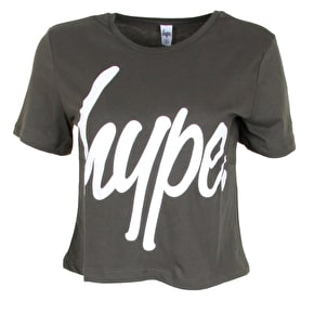 Hype Script Crop T-Shirt - Khaki/White