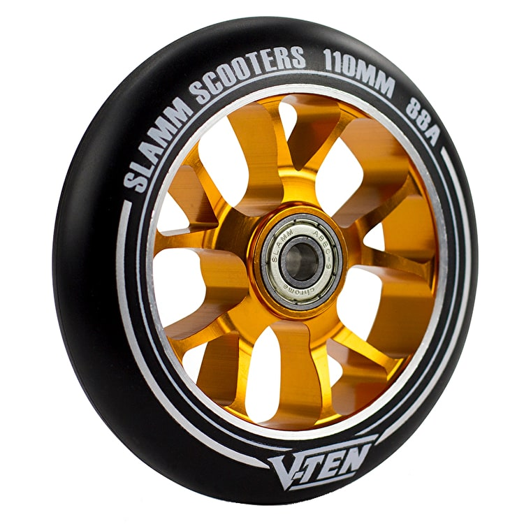 Slamm V-Ten II 110mm Aluminium Core Scooter Wheel - Black/Gold