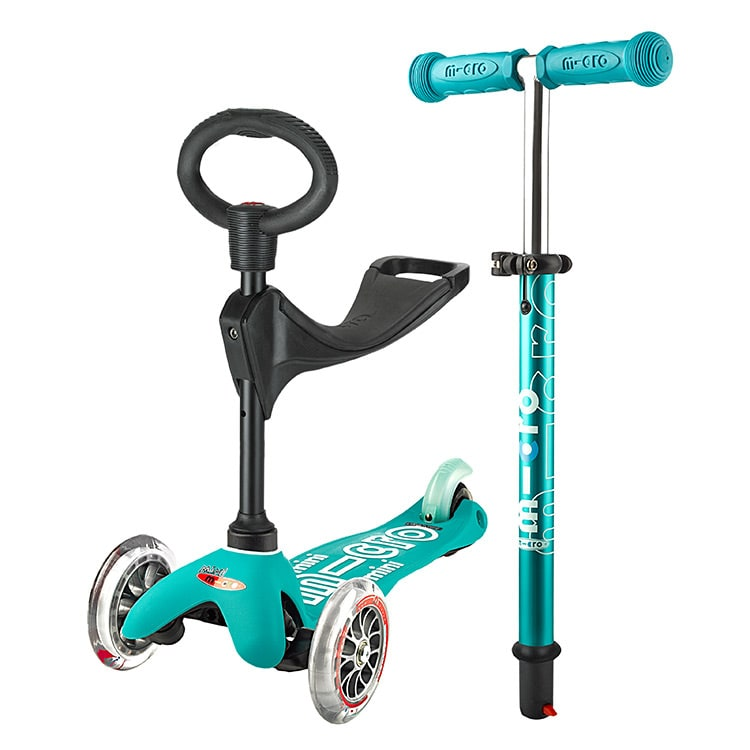 Mini Micro 3in1 Deluxe Complete Scooter  Aqua