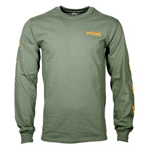 WKND Ghost Bolts L/S T-Shirt - Olive