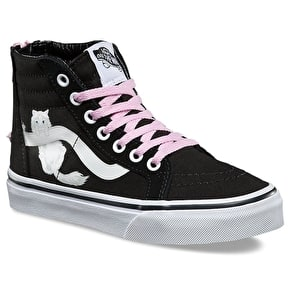 B-Stock Vans Sk8-Hi Zip Kids Shoes - (Hidden Kittens) Black/True White (Size - Junior UK 11) (