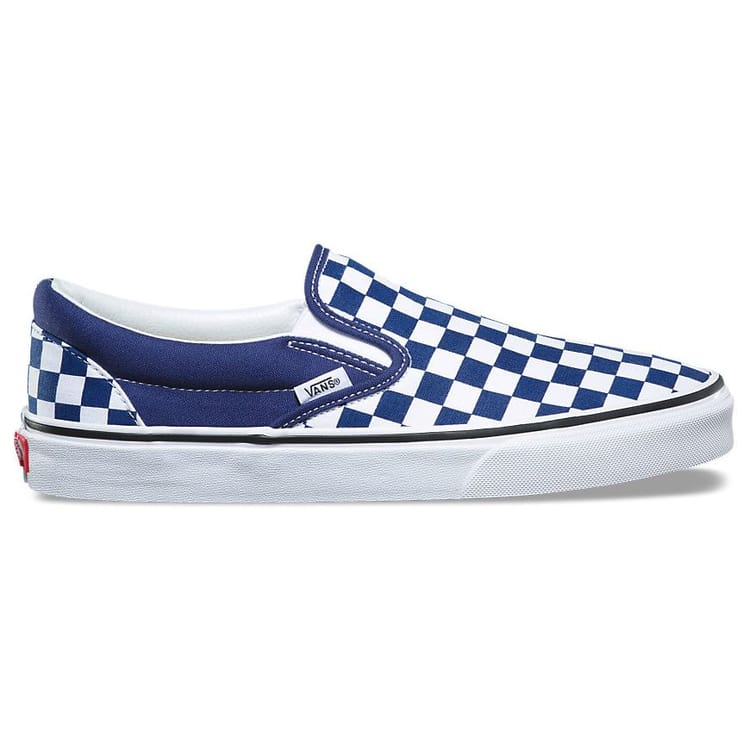 Vans UA Classic Slip-On Checkerboard Skate Shoes - Estate Blue/True White