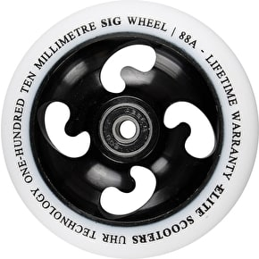 Elite 110mm Sig Wheel Scooter Wheel - White PU/Black Core
