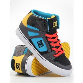 DC Spartan Hi Youth Skate Shoes - Blue/Red - UK Size 3 (B-Stock)