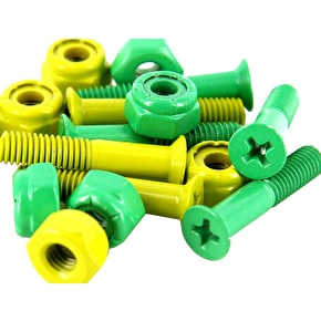 Shake Junt Green n Yellow Skateboard Bolts 1