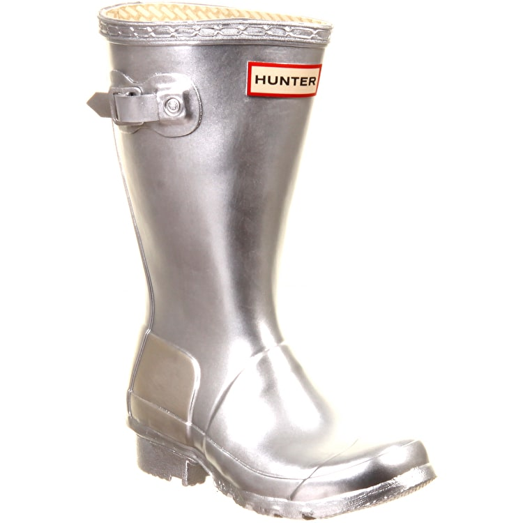 Hunter Kids Original Wellington Boots Metallic Silver