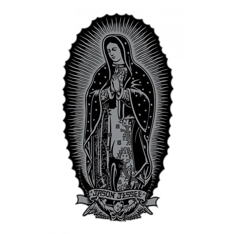 Santa Cruz Guadalupe Skateboard Sticker - Black/Silver 6""