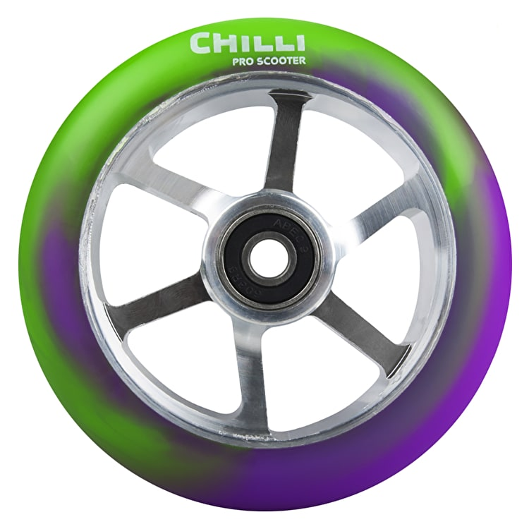 Chilli Pro 6 Spoke 110mm Scooter Wheel w/Bearings - Purple/Green/Silver