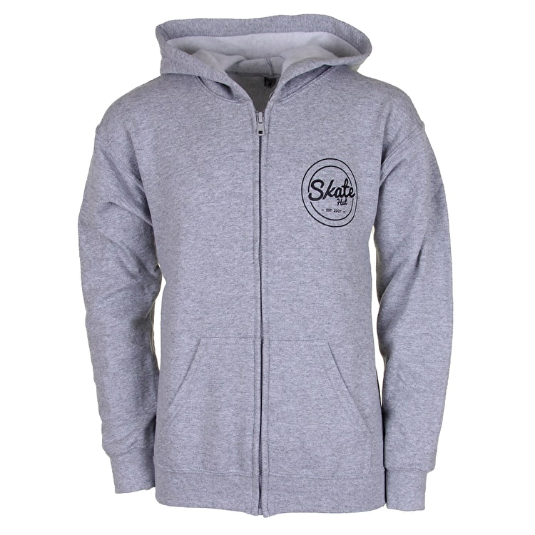SkateHut Circle Dot Zip Hoodie - Grey