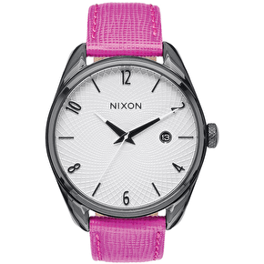 Nixon Bullet Leather Ladies Watch - Black/Hot Pink