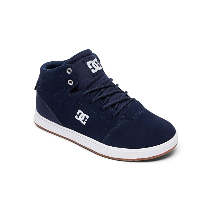 DC Crisis High Top Kids Skate Shoes - Navy