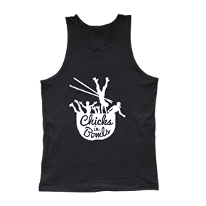 Chicks in Bowls-Black Vest Top
