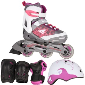 Rollerblade 2018 Spitfire Cube Adjustable Inline Skates Bundle - White/Purple