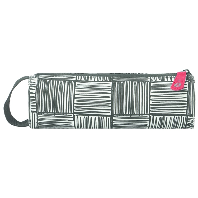 Mi-Pac Scribble Check Pencil Case - Monochrome/Red
