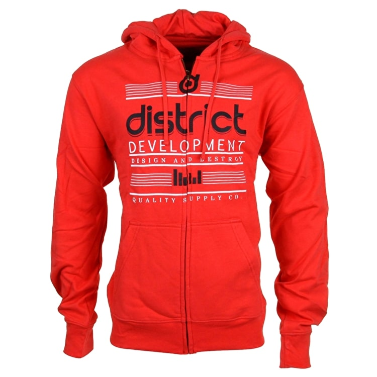 District Supply Co. Destroy Zip Hoodie - Red