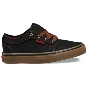 Vans Chukka Low Kids Skate Shoes - (Buffalo Plaid) Black/Gum