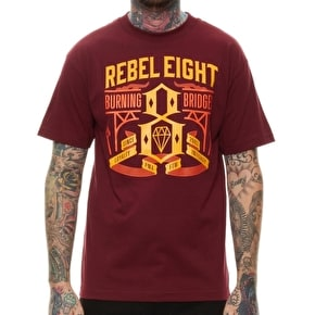 Rebel8 Burning Bridges T-Shirt - Burgundy