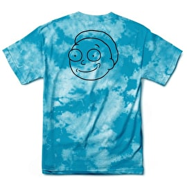 Primitive Morty Outline T Shirt - Tie Dye/Aqua