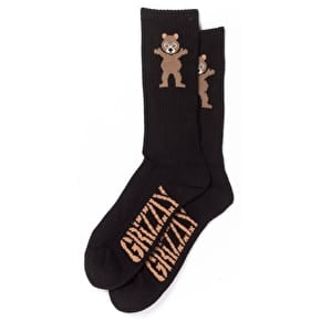 Grizzly OG Bear Emoji Socks - Black