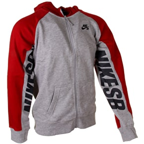 Nike SB Kids Zip Hoodie - Printed Sleeve - Dark Heather