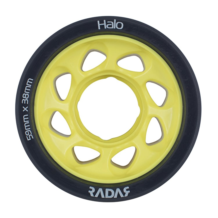 Radar Halo 59mm Roller Skate Wheels x 4 - Charcoal/Yellow 91A