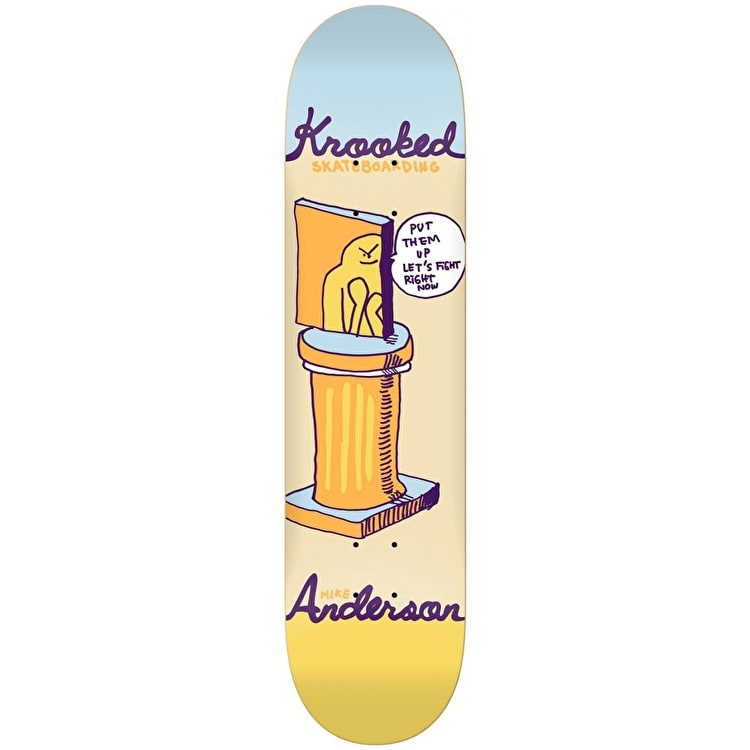 Krooked Skateboard Deck - Prize Fighter Anderson Yellow 8.25""