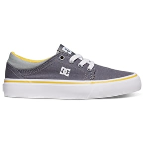 DC Trase TX Kids Shoes - Grey/White/Yellow