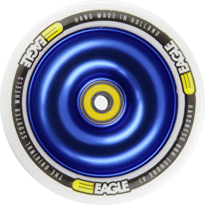 Eagle Blue Anodized Full Metal Core White PU Wheel - 110mm