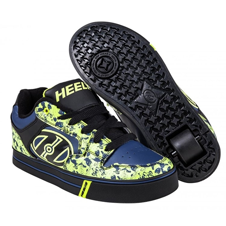 B-Stock Heelys Motion Plus - Black/Navy/Lime/Skulls - UK 3 (Box Damage)